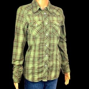 True Religion Women's Snap Green Button-Down Shirt